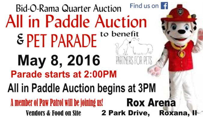 Partners 4 Pets Quarter Auction Flyer