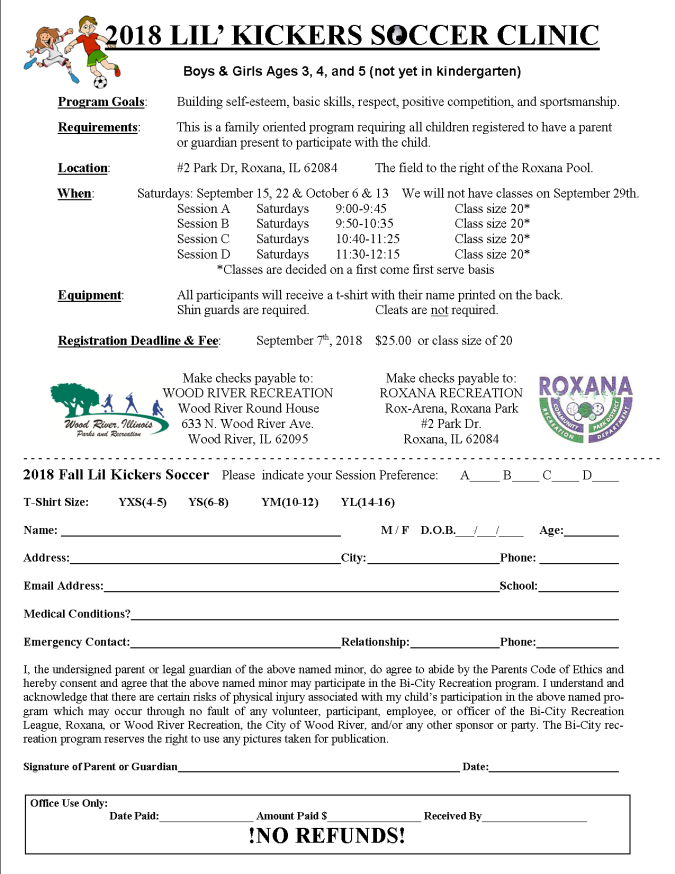 Lil Kickers Fall 2018 Registration Form