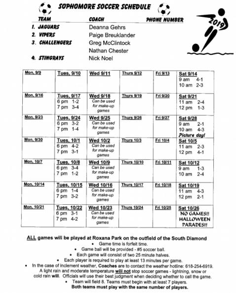 soph schedule 2019